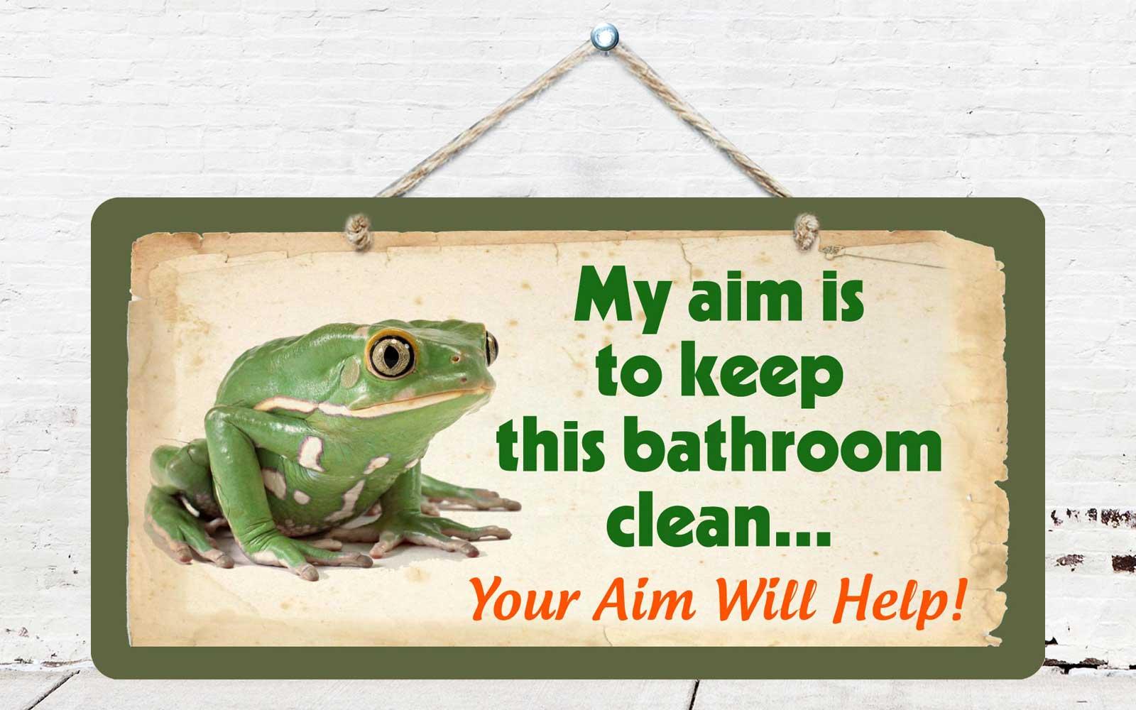 Hs Frog My Aim Keep Bathroom Clean X Aluminum Hanging - How to keep bathroom clean